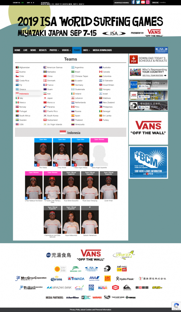 Team Rosters - 2019 ISA World Surfing Games presented by Vans